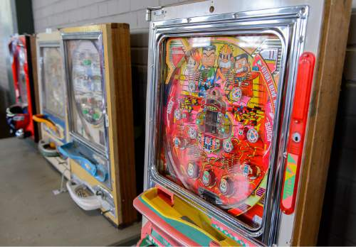 Trent Nelson  |  The Salt Lake Tribune Pachinkco pinball machines set to be auctioned off at Erkelens & Olson, which is celebrating its 40th year in the auction business. Salt Lake City, Friday April 22, 2016.