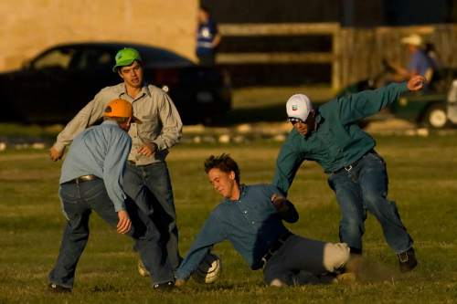 Chris Detrick  |  The Salt Lake Tribune  FLDS boys play soccer outside at Fort Concho in San Angelo, Texas, on April 11, 2008, where they are temporarily being housed. Children removed from a polygamous sect's Texas ranch will remain in facilities here until a scheduled April 17 hearing on their status, officials said Friday. The 416 children from the YFZ Ranch, accompanied by 139 women, are staying at the Wells Fargo Pavilion and historic Fort Concho.