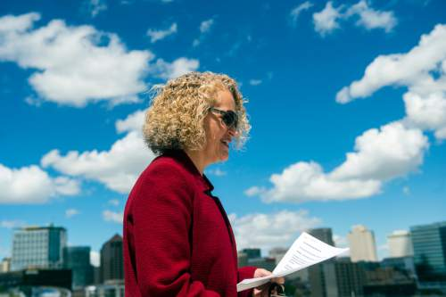 Chris Detrick  |  The Salt Lake Tribune Mayor Jackie Biskupski speaks during a press conference on top of the Salt Lake City Public Safety Building Tuesday May 10, 2016. Through the new initiative, Subscriber Solar, the city will nearly double the amount of sustainable energy powering government operations by the end of 2016. Mayor Biskupski has set a 2020 goal to have 50% of municipal operations powered by renewable energy, and 100% by 2032.