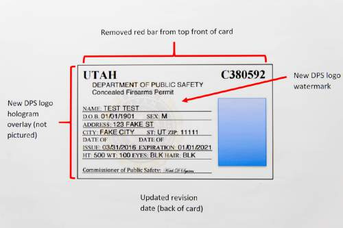 Trent Nelson  |  The Salt Lake Tribune The Utah Department of Public Safety announed changes to Utah Concealed Firearms Permits Tuesday May 10, 2016. The new card does not have a bright red line at the top of each card, among other changes.