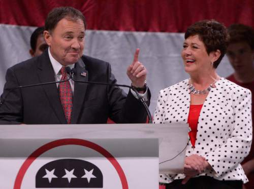 Leah Hogsten  |  The Salt Lake Tribune Incumbent Governor Gary Herbert delivers his re-election speech, backed by his family and wife Jeanette Herbert at the Utah Republican Convention, Saturday, April 23, 2016, at Salt Palace Convention Center.