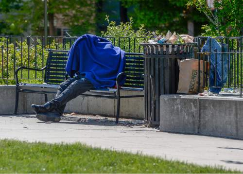 Francisco Kjolseth | The Salt Lake Tribune  Evidence of homelessness in downtown Salt Lake City is clear. The state is releasing new year-to-year data that indicates an increase in homelessness, as much as 17 percent among families. This comes as the Legislature and other political leaders are making serious attempts to address the issue and in the recent lawmaking session, approved $9.25 million to begin developing a new network of smaller shelters and coordinated services.