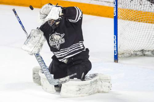 Chris Detrick  |  The Salt Lake Tribune Grizzlies' Mark Owuya (1) makes a save during Game 4 of the ECHL playoff series at Maverik Center Friday May 6, 2016.