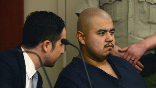 Steve Griffin / The Salt Lake Tribune  Sergio Briseno Medina listens to testimony in his preliminary hearing in Judge Richard McKelvie's court room at the Matheson Courthouse in Salt Lake City Friday May 13, 2016.  Medina is charged with first-degree felony murder for the February stabbing death of 21-year-old Hope Gabaldon. On Feb. 25, 2016, Gabaldon was found lying on the side of the road near 3100 S. 4000 West in West Valley City. She was taken to a local hospital, where she later died.
