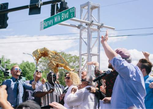 Jim McAuley  |  Special to The Tribune Salt Lake City Mayor Jackie Biskupski joins crowds celbrating as Harvey Milk Boulevard is unveiled in Salt Lake City on Saturday.