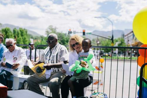 SALT LAKE CITY, UTAH - May 14, 2016:  Jackie Biskupski with her son Archie, 6, after speaking at the Harvey Milk Boulevard unveiling in Salt Lake City on Saturday, May 14, 2016.