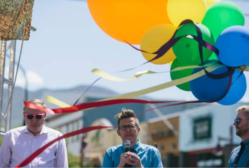 SALT LAKE CITY, UTAH - May 14, 2016:  Lucas Fowler speaks at the dedication ceremony for Harvey Milk Boulevard in Salt Lake City on Saturday, May 14, 2016.