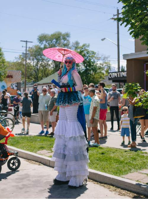 SALT LAKE CITY, UTAH - May 14, 2016:  Street performer Heidi Butterfly before the dedication ceremony for Harvey Milk Boulevard in Salt Lake City on Saturday, May 14, 2016.