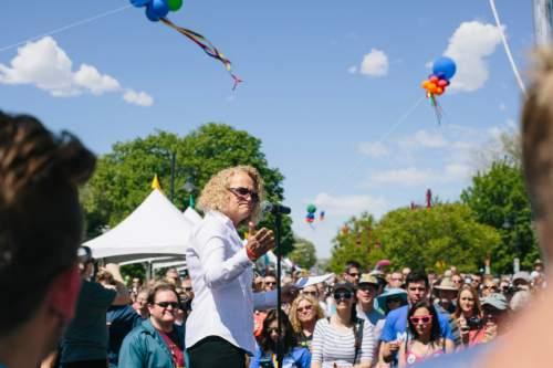 SALT LAKE CITY, UTAH - May 14, 2016:  Jackie Biskupski speaks at the Harvey Milk Boulevard unveiling in Salt Lake City on Saturday, May 14, 2016.