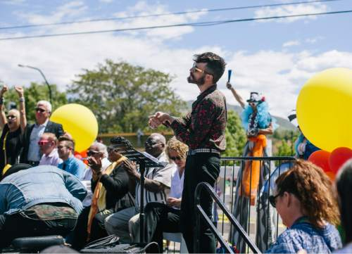 SALT LAKE CITY, UTAH - May 14, 2016: Tyler Glenn, of the band Neon Trees, waits on stage to sing at the unveiling ceremony for Harvey Milk Boulevard in Salt Lake City on Saturday, May 14, 2016.
