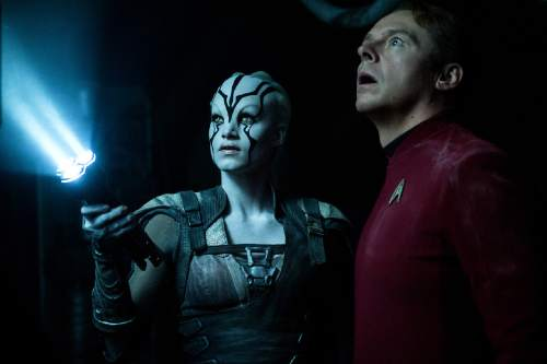 "In this image released by Paramount Pictures, Sofia Boutella, left, and Simon Pegg appear in a scene from, ""Star Trek Beyond,"" in theaters nationwide on July 22. (Kimberley French/Paramount Pictures via AP)"
