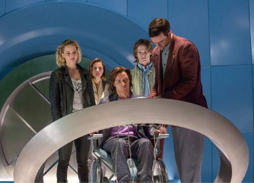 "In this image released by 20th Century Fox, Jennifer Lawrence, Rose Byrne, James McAvoy, Lucas Till and Nicholas Hoult appear in a scene from, ""X-Men: Apocalypse,"" in theaters nationwide on May 27. (Alan Markfield/20th Century Fox via AP)"