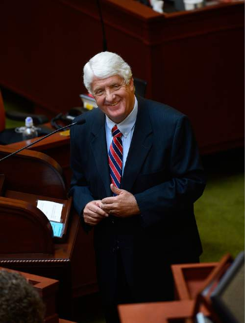 Scott Sommerdorf   |  The Salt Lake Tribune Congressman Rob Bishop, R-Utah, jokes with Speaker of the House Greg Hughes, R-Draper, after he addressed the Utah House of Representatives, Thursday, February 19, 2015.