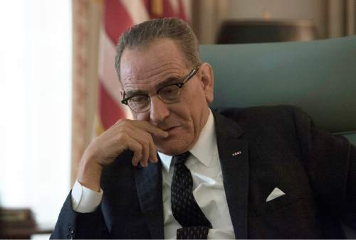 """In this image released by HBO, Bryan Cranston portrays President Lyndon B. Johnson in a scene from, """"All the Way,"""" premiering Saturday at 8 p.m. ET on HBO. (Hilary Bronwyn Gayle/HBO via AP)"""
