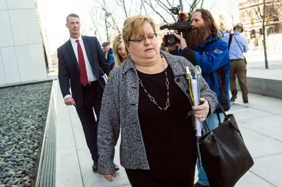 Chris Detrick  |  The Salt Lake Tribune Lyle Jeffs' public defender Kathryn Nester walks from the Federal Courthouse in Salt Lake City Wednesday February 24, 2016.