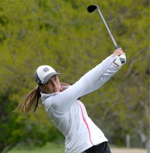 Al Hartmann     The Salt Lake Tribune Davis High School's Laura Gerner drives on the front nine on the final day of the of the 5A girls' golf tournament on the Lake Course at Wasatch Mountain State Park Monday May 17.