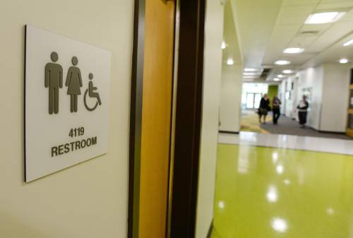 Francisco Kjolseth | The Salt Lake Tribune Utah school districts are unfazed by new federal rules regarding bathroom accommodations for transgender students. Mount Jordan Middle School in Sandy has unisex-bathrooms located in every hallway.