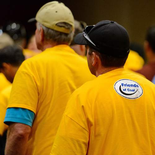 Trent Nelson  |  The Salt Lake Tribune Yellow t-shirts of pro-coal citizens fill a room at the Salt Palace Convention Center in Salt Lake City, Thursday May 19, 2016, where the Bureau of Land Management (BLM) solicited public input at a public meeting as the next step in the Department of the Interiorís comprehensive review of the federal coal program.