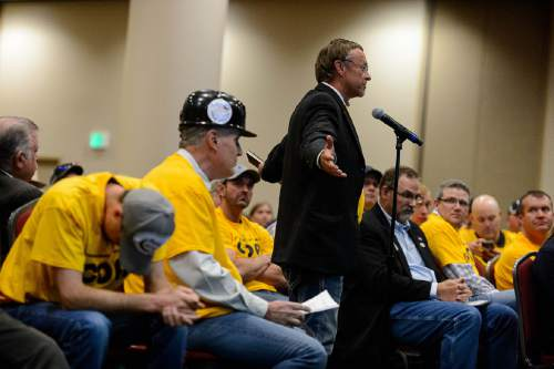 Trent Nelson  |  The Salt Lake Tribune Sevier County Commissioner Gary Mason speaks in favor of the granting of a coal lease at the Salt Palace Convention Center in Salt Lake City, Thursday May 19, 2016, where the Bureau of Land Management (BLM) solicited public input at a public meeting as the next step in the Department of the Interior's comprehensive review of the federal coal program.