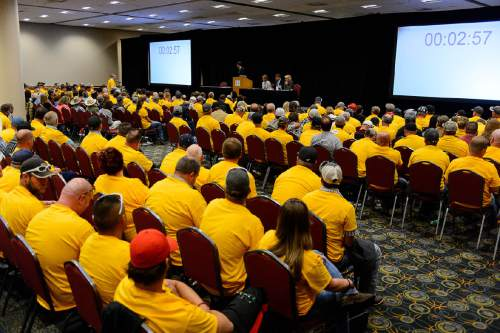 Trent Nelson  |  The Salt Lake Tribune Yellow t-shirts of pro-coal citizens fill a room at the Salt Palace Convention Center in Salt Lake City, Thursday May 19, 2016, where the Bureau of Land Management (BLM) solicited public input at a public meeting as the next step in the Department of the Interior's comprehensive review of the federal coal program.