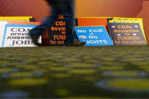 Trent Nelson  |  The Salt Lake Tribune Pro-coal signs line a wall at the Salt Palace Convention Center in Salt Lake City, Thursday May 19, 2016. The Bureau of Land Management (BLM) solicited public input at a public meeting as the next step in the Department of the Interior's comprehensive review of the federal coal program.