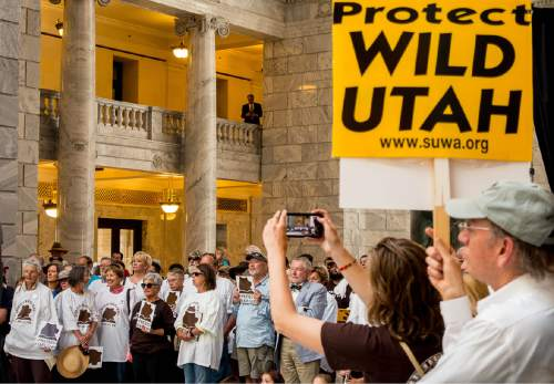 Trent Nelson  |  The Salt Lake Tribune Utah Diné Bikéyah (UDB) and Tribal leaders stand in support of protecting the Bears Ears at a rally today in the Utah State Capitol Rotunda in Salt Lake City, Wednesday May 18, 2016. Attendees at the rally called for President Obama to protect sacred sites and honor ancestral lands by designating Bears Ears National Monument.