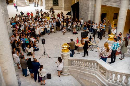 Trent Nelson  |  The Salt Lake Tribune Mark Maryboy speaks as Utah Diné Bikéyah (UDB) and Tribal leaders stand in support of protecting the Bears Ears at a rally today in the Utah State Capitol Rotunda in Salt Lake City, Wednesday May 18, 2016. Attendees at the rally called for President Obama to protect sacred sites and honor ancestral lands by designating Bears Ears National Monument.