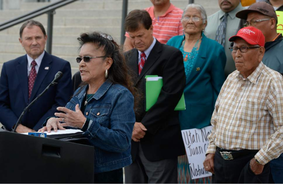 "Francisco Kjolseth | The Salt Lake Tribune Marie Holiday of the Oljato & Navajo Mountain Community joins Utah lawmakers on the steps of the Utah Capitol on Tuesday, May 17, 2016, as they stage a demonstration against a Bears Ears monument designation and presidents' ""unilateral"" use of the Antiquities Act to protect lands within Utah."