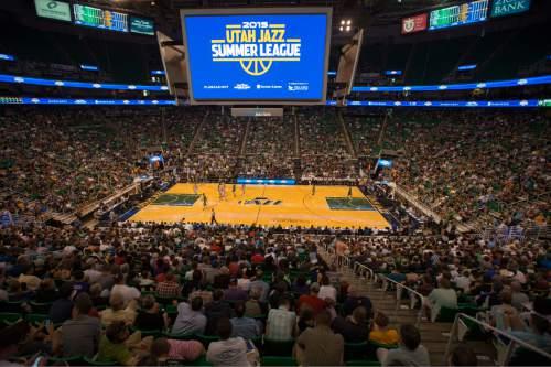 Rick Egan  |  The Salt Lake Tribune Jazz fans fill EnergySolutions Arena, now called Vivint Smart Home Arena, on Monday, July 6, 2015.