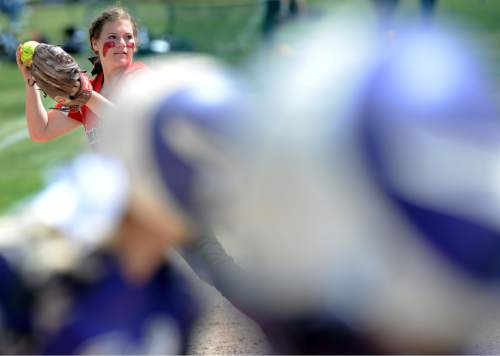 Steve Griffin / The Salt Lake Tribune  Bear River third baseman Dacia Hobbs prepares to fire to first after grabbing a ground ball during Class 3A softball quarterfinal game against Tooele at the Valley Softball Complex in Taylorsville, Utah Thursday May 19, 2016.