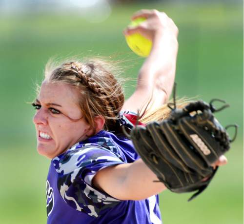 Steve Griffin / The Salt Lake Tribune  Tooele pitcher Loryn Fonger grits her teeth as she fires a pitch during Class 3A softball quarterfinal game against Bear River at the Valley Softball Complex in Taylorsville, Utah Thursday May 19, 2016.