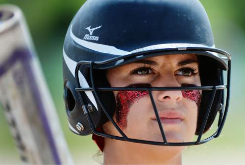 Steve Griffin / The Salt Lake Tribune  Bear River's Mckenzi Summers stands in the on-deck circle as she waits to bat against Tooele during the Class 3A softball quarterfinal game at the Valley Softball Complex in Taylorsville, Utah Thursday May 19, 2016.