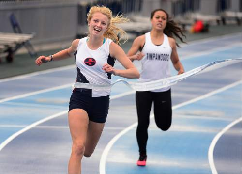 Scott Sommerdorf   |  The Salt Lake Tribune   Kennedy Clemen of Springville won the 4A Girl's 400M final in lane 7 with a time of 12.49 at the second day of the state high school track & field meet at BYU, Saturday, May 21, 2016.