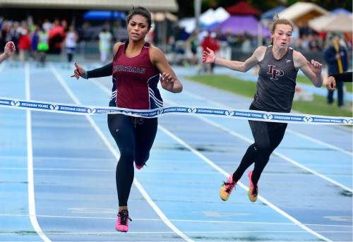 Scott Sommerdorf   |  The Salt Lake Tribune   Kaysha Love of Herriman won the Girl's 5A 100M with a time of 12.13 at the second day of the state high school track & field meet at BYU, Saturday, May 21, 2016. Emily Ellis of Lone Peak was second with 12.31.