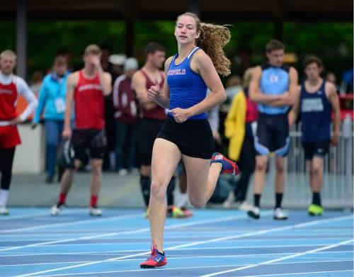 Scott Sommerdorf   |  The Salt Lake Tribune   Richfield's Shandi Bastian won the Girl's 3A 400m with a time of 57.35 at the second day of the state high school track & field meet at BYU, Saturday, May 21, 2016.