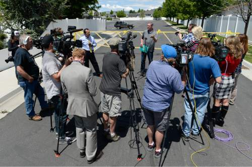 Francisco Kjolseth | The Salt Lake Tribune Richard Massey, a family spokesperson for missing UTA worker 63-year-old Kay Porter Ricks, whose body was found Tuesday in Wyoming, speaks with the media outside their neighborhood ward in Spanish Fork on Wednesday, May 18, 2016.