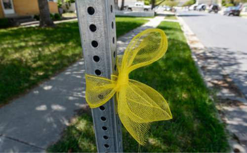 Francisco Kjolseth | The Salt Lake Tribune Yellow ribbons adorn the neighborhood belonging to missing UTA worker 63-year-old Kay Porter Ricks, whose body was found Tuesday in Wyoming. A family spokesperson spoke with the media outside their neighborhood ward in Spanish Fork on Wednesday, May 18, 2016.