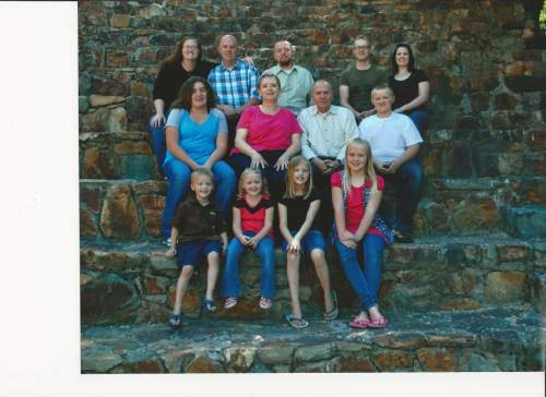 |  Courtesy   The family of Kay Ricks.   All left to right: Top Row: Danielle Ricks (daughter-in-law), Joel Ricks (son), Wynn Ricks (son), Tyson Ricks (son), Felicia Ricks (daughter-in-law) Middle Row: Sarah Ricks (granddaughter), Lorie Ricks (wife), Kay Ricks, Porter Ricks (grandson) Front Row: Jiraiya Ricks (grandson), Oakley Ricks (granddaughter), Adriana Ricks (granddaughter), Alyssa (granddaughter) Not pictured, Mary Ricks, daughter-in-law