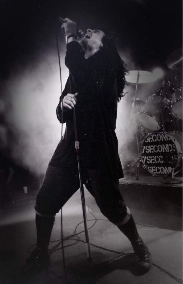 Rick Egan    The Salt Lake Tribune   Kevin Seconds sings for 7 Seconds, The Speedway Cafe, November 1989.
