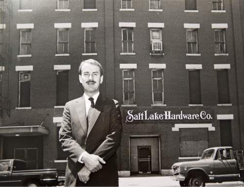 Rick Egan  |  Tribune File Photo  John W. Williams stands in front of the Salt Lake Hardware Co. builiding on July 23, 1990.