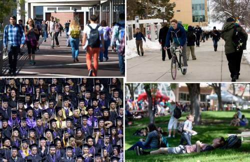 Tribune file photos  Students on campus at (clockwise from top left) Utah Valley University, Utah State University, the University of Utah and Weber State University