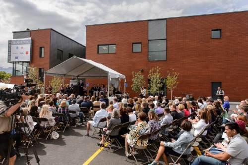Trent Nelson     The Salt Lake Tribune A large crowd attends the opening of Volunteers of America, Utah's new Youth Resource Center in Salt Lake City, Tuesday May 24, 2016. The $6 million, 20,000-square-foot facility will offer 24/7 support as well as education, counseling and job training to help teens struggling with homelessness. Kathy Bray, the president and CEO of VOA-Utah, said the shelter will offer security to young people ages 15 to 22 and also will focus on health, education and employment.