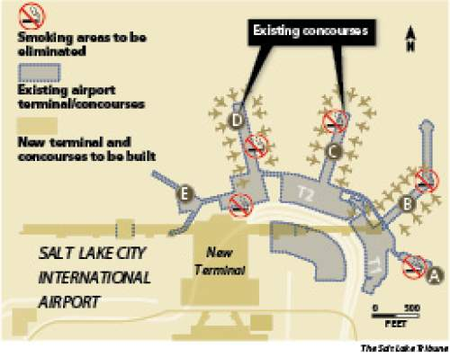 Five smoking areas in Salt Lake City International Airport's existing concourses are being eliminated as the facility undergoes a $1.8 billion renovation.
