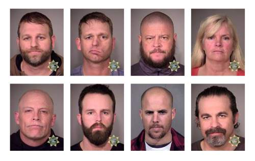 This combination of photos provided by the Multnomah County Sheriff's Office and the Maricopa County Sheriff's Office shows eight people involved in the occupation of the headquarters of the Malheur National Wildlife Refuge in Oregon on Jan. 2, 2016, who were arrested on Tuesday, Jan. 26, 2016. Top row from left are Ammon Bundy, Ryan Bundy, Brian Cavalier and Shawna Cox. Bottom row from left are Joseph Donald O'Shaughnessy, Ryan Payne, Jon Eric Ritzheimer and Peter Santilli. (Multnomah County Sheriff's Office/Maricopa County Sheriff's Office via AP)
