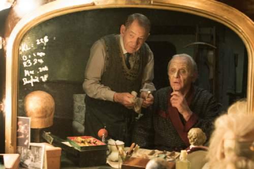 "Ian McKellen, left, and Anthony Hopkins star in ""The Dresser."" Courtesy Starz"
