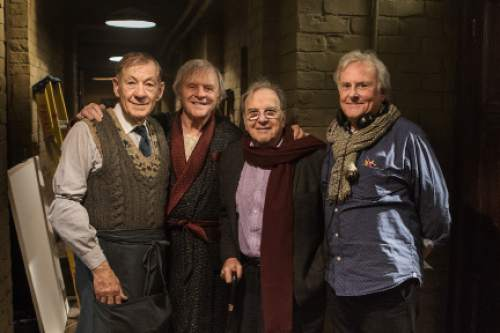 """Stars Sir Ian McKellen, left, and Sir Anthony Hopkins; director Sir Richard Eyre; and playwright Sir Ronald Harwood behind the scenes of """"The Dresser."""" Courtesy Starz"""