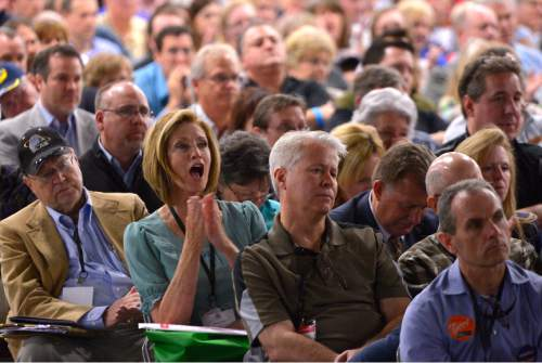 Leah Hogsten     Tribune file photo A delegate cheers during the Utah Republican Convention, April 23, 2016, at Salt Palace Convention Center.
