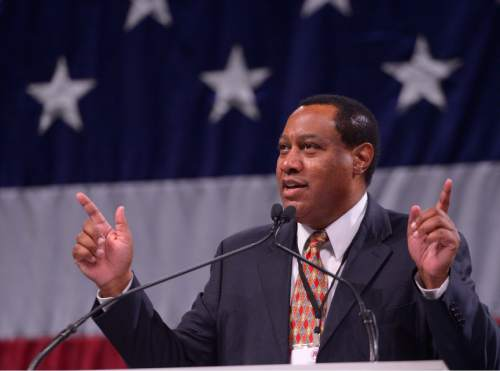 """Leah Hogsten     Tribune file photo """"We have a right to defend what we think is best for us,"""" said Utah Republican Party Chairman James M. Evans concerning SB54, at the Utah Republican Convention, April 23, 2016, at Salt Palace Convention Center. The state GOP has yet to decide whether to endorse convention-nominated Republican candidates over those who gathered signatures to get on the ballot for the June 28 primary election. At least three county parties -- Utah, Salt Lake and Davis -- have supported the convention winners, abandoning the tradition of neutrality before a primary."""