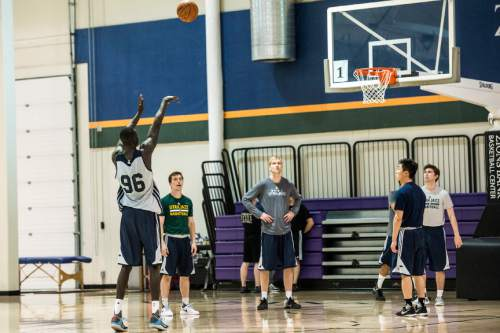 Chris Detrick  |  The Salt Lake Tribune Thon Maker shoots around at the Zions Bank Basketball Center Wednesday May 25, 2016.