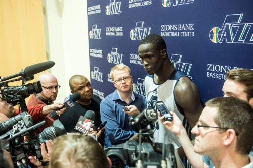Chris Detrick  |  The Salt Lake Tribune Thon Maker talks to members of the media at the Zions Bank Basketball Center Wednesday May 25, 2016.